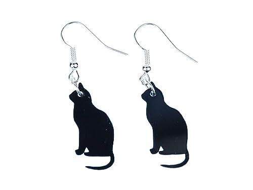 Cat pendientes de suspensión Miniblings Gatos Gatos pendientes schwz acrílico sentados: Amazon.es: Joyería