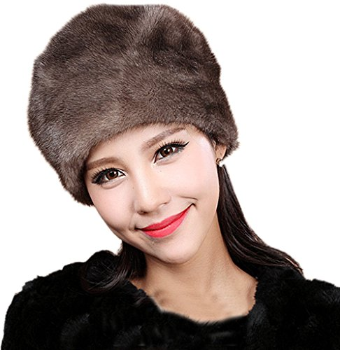 YR Lover Women's Warm Earmuffs Mink Fur Beret Caps Cute Small Hats