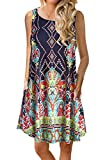 Andaa Women's Summer Floral Printed Casual Sleeveless Shirt Dress Casual Long Flowy Tunic Tops with Pockets …