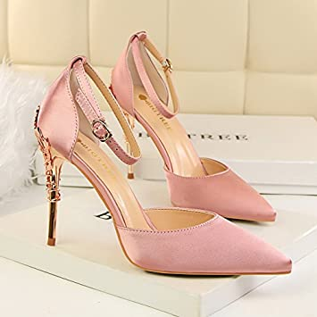 LGK&FA Super Fine Talon Talon Sandales Pour Femmes Chaussures Couleur Champagne Trente-Cinq Mandarina Duck MD20 S Purse Miaty Rose IrS1O4iF