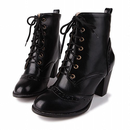 Lace Carolbar Boots Women's Biker Short Concise Up High Heel Black Vintage wrtr1qg