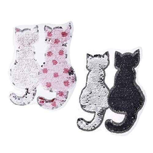 2Pcs Cute Cat Sequins Sewing Applique Reversible Embroidery Clothes Patches