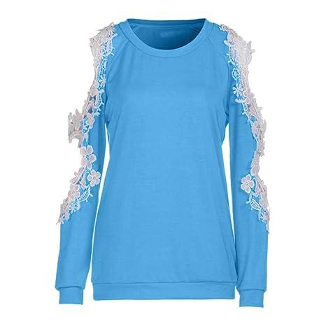Mujer Hombro Sin Tirantes Encaje Manga Larga Top,Belasdla Primavera Chica Largas 2018 OtoñO Camisetas Mujer Manga Algodon Mujer Fiesta Blusas: Amazon.es: ...