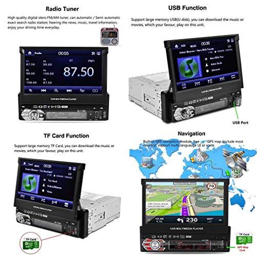 Reakosund de 7 pulgadas de coche GPS jugador universal de un solo coche de dinar auto estéreo 7158G con función retráctil automática con cámara retrovisora: ...