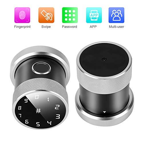 Fingerprint Door Lock, Smart Keyless Card Password Wireless APP Sphere Security System for Home Office