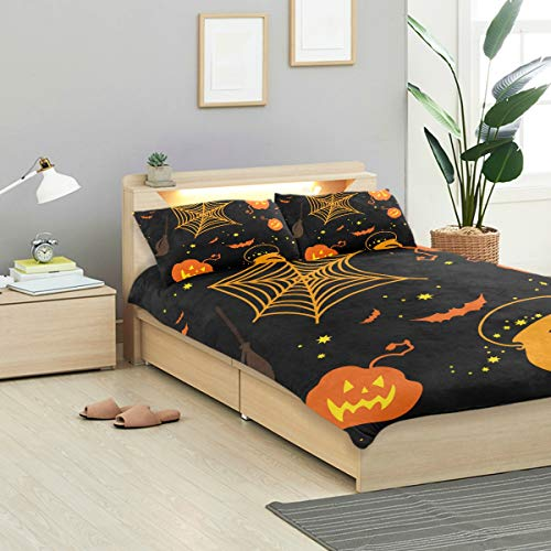 MIGAGA Duvet Cover Set, On Black Background Bright Orange Halloween, Decorative 3 Piece Bedding Sets with 2 Pillow Shams Full Size