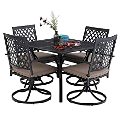 Garden and Outdoor MFSTUDIO 5 Piece Black Metal Outdoor Patio Dining Bistro Set with 4 Swivel Chairs and Steel Frame Slat Larger Square… patio dining sets