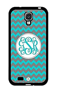 iZERCASE Monogram Personalized Dark Turquoise and Grey Chevron Pattern RUBBER Samsung Galaxy S4 Case - Fits Samsung Galaxy S4 T-Mobile, AT&T, Sprint, Verizon and International (Black)