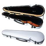 PAITITI Triangular Violin Shaped Full Size Durable Super Light Fiber Glass Case with Hygrometer (White)