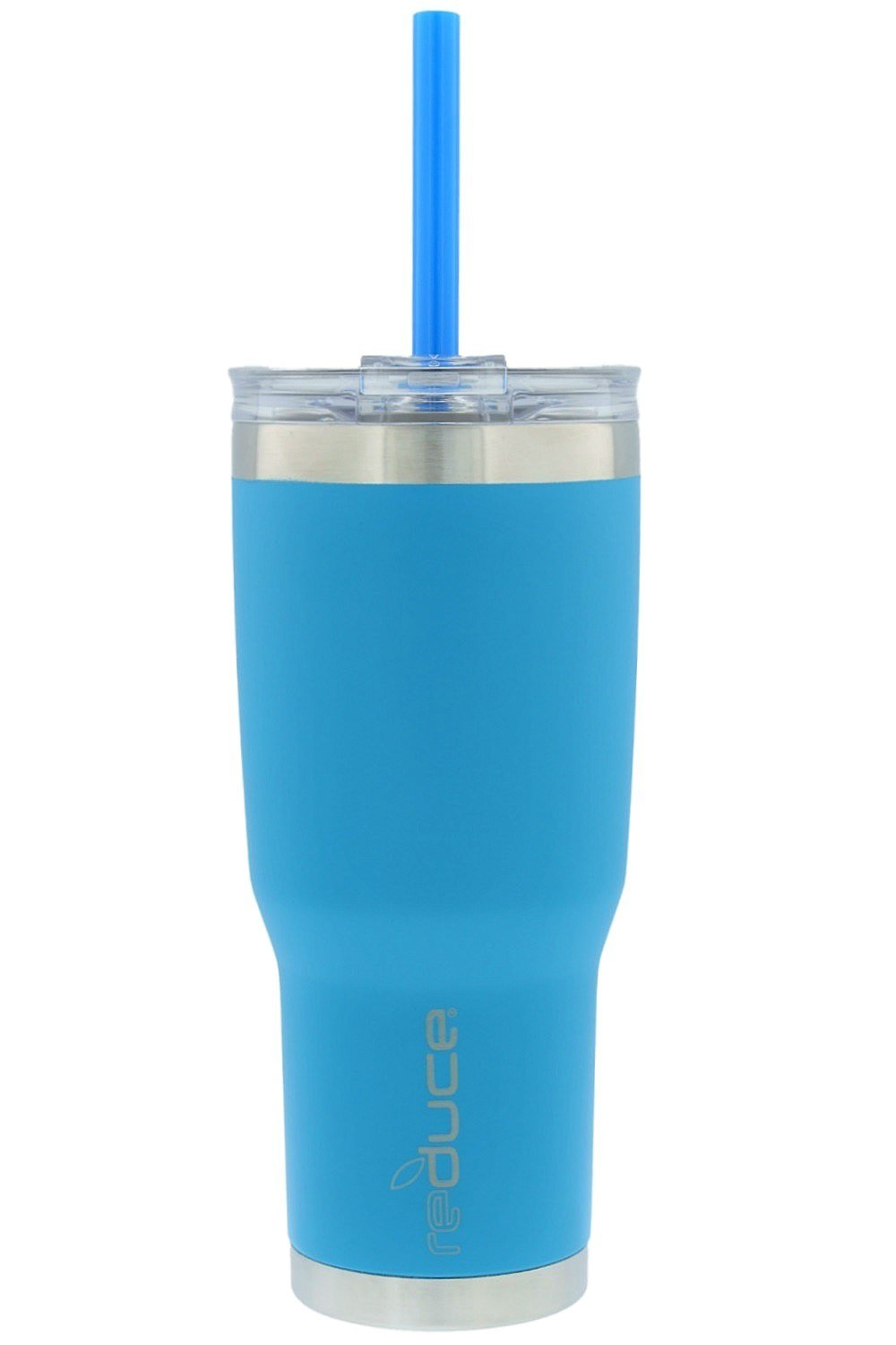 reduce COLD-1 Vacuum Insulated Stainless Steel Tumbler with Straw, 3-in-1 Lid - Tasteless and Odorless, 24oz - Powder Coat (Blue)