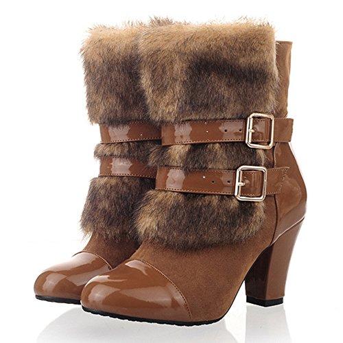 Brown Women Pull Boots COOLCEPT Heels On X4OqdTxn