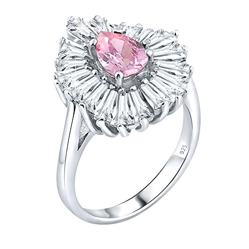 Polish Tapered High Sterling Silver (Women's Sterling Silver .925 Ring with Pink Pear shaped center surrounded by 21 Tapered Baguette Cubic Zirconia (CZ) stones, High Polish, Appears indentical to platinum or gold)