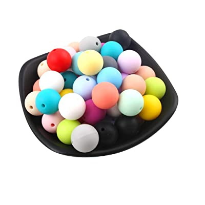 Silicone Beads 12mm 100pc Silicone Loose Teething Beads for DIY Necklace Bracelet: Arts, Crafts & Sewing