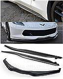 for 2014-Present Chevrolet Corvette C7 All Models | Z06 Stage 2 Style ABS Plastic Primer Black Front Bumper Lower Lip Splitter W/Side Skirt Rocker Panels Extensions