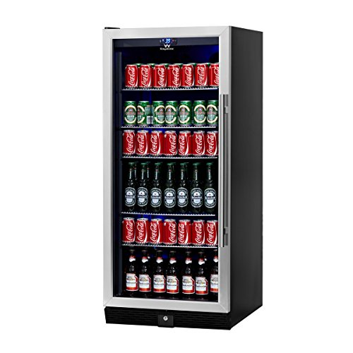 KingsBottle 300 Can Beverage Cooler, Stainless Steel with Glass Door