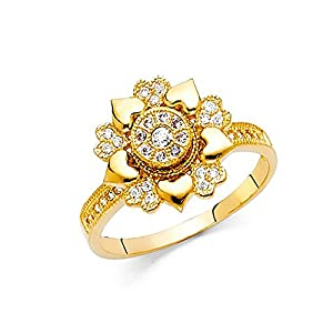 American Set Co. 14k Yellow Gold Pave CZ Spinner Motion Heart Milgrain Ring