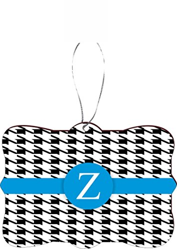 Rikki Knight RKWS-SQORN-46426 Christmas Tree Ornament / Car Rear View Mirror Hanger Letter ''Z'' Sky Blue Houndstooth Monogram Design by Rikki Knight