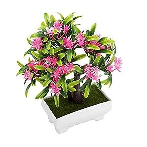 GLOGLOW Artificial Bonsai Flower Pot Fake Silk Flower Tree Plant for Wedding Holiday Home Decor 13