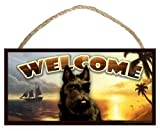 Scottish Terrier (Scottie) Summer Season Welcome Dog Sign / Plaque featuring the art of Scott Rogers
