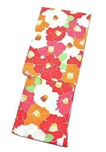 正しく未接続無し[ 京都きもの町 ] 女性 浴衣単品 赤×オレンジ 椿