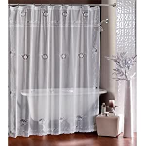 White Ivy Lace Winter Shower Curtain Holiday