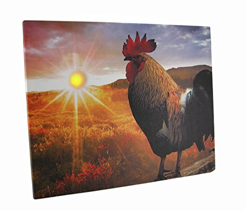 Zeckos Canvas Prints Rise And Shine Sunrise Rooster Led Lighted Canvas Wall Hanging 20 X 16 X 1 Inches Multicolored (Hanging Rooster Wall)