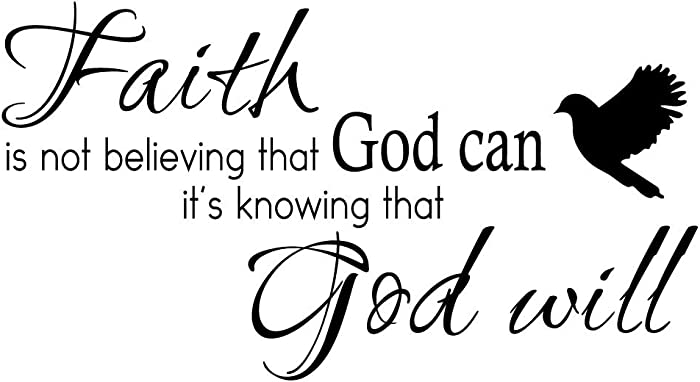 KYSUN Faith is Not Believing That God Can It's Knowing That God Will Vinyl Wall Decal Christian Quotes Religious Art Letters Décor