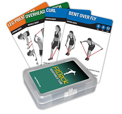 Cheap FitDeck Illustrated Exercise Playing Cards for Guided Workouts, Resistance Tube