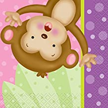 5 Girl Monkey Baby Shower Napkins by Unique Party