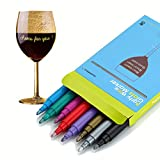 GAINWELL Wine Glass Markers – Pack of 8 Food-Safe Non-Toxic Wine Glass Marker Pens - Can also be Used on Ceramic Plates and other Glass and Dinnerware