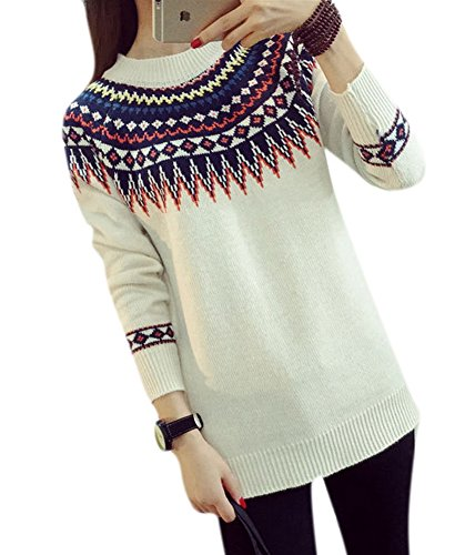 Lingswallow Womens Fair Isle Knitted Crewneck Outwear Pullover Sweater White - Fair Isle Crewneck Sweater