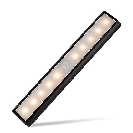 Eletorot Lámpara LED del Armario,Lámpara de Gabinete,Inalámbrica Lámpara con sensor de movimientos,Luces nocturnas USB Recargable magnético 10 ...