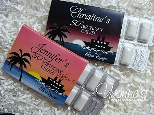 Cruise/Bon Voyage Nautical Gum Wrappers Personalozed - Gum Wrappers Party Favors- Destination Wedding, Birthday Cruise, Summer/Vacation Fun (SET OF 12) *GUM NOT INCLUDED*