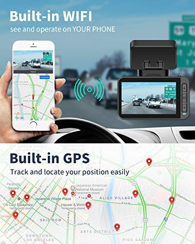 XTU Dash Cam, WiFi 4K Car Camera, Sony Sensor Dual Cam 1440P+1080P, Built-in GPS, Magnetic Mount, Auto Recording, Mini Size,Loop Recording,Gesture Snapshot (Free 32G SD Card)