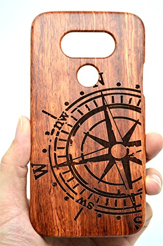 LG G6 Wooden Case, PhantomSky[Luxury Series] Premium Quality Handmade Natural Wood Cover for Your Smartphone - Rosewood Compass (Luxury Compass)