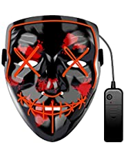 Other LED Prom Bar Halloween Fortress Night Sewing Mouth Terror Dance Mask, Red