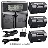 Kastar Battery 3 Pack and LCD Dual Fast Charger for Topcon BT-65Q, Topcon BC-30 BC-30D BT-30, Topcon Total Stations FC-200 FC-2200 FC-2500 GPT-7000i GTS-750 GTS-751 GPT-7500 GTS-900 GPT-9000