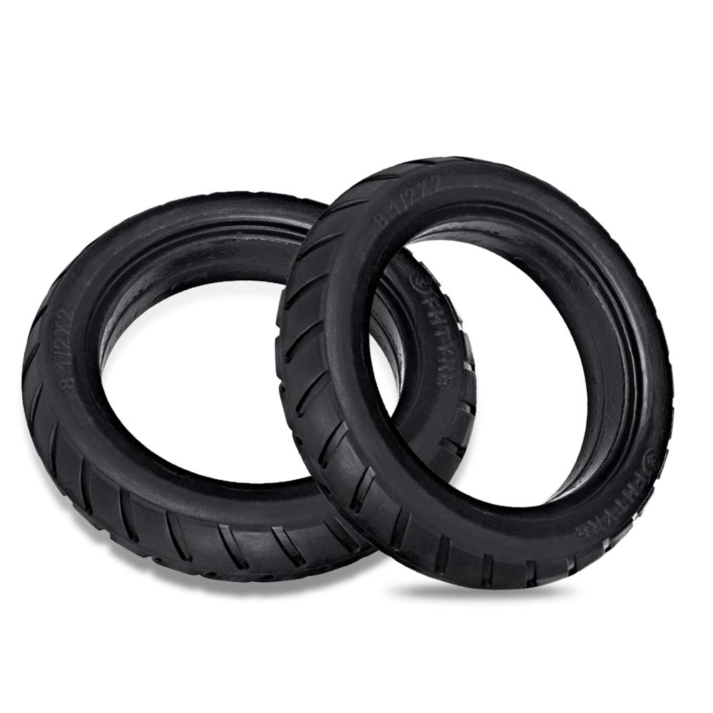 Lixada 2Pcs 8.5 Inch Front/Rear Scooter Tire Wheel Solid Replacement Tyre 8 1/2X2 for Xiaomi Mijia M365 Electric Scooter Skateboard