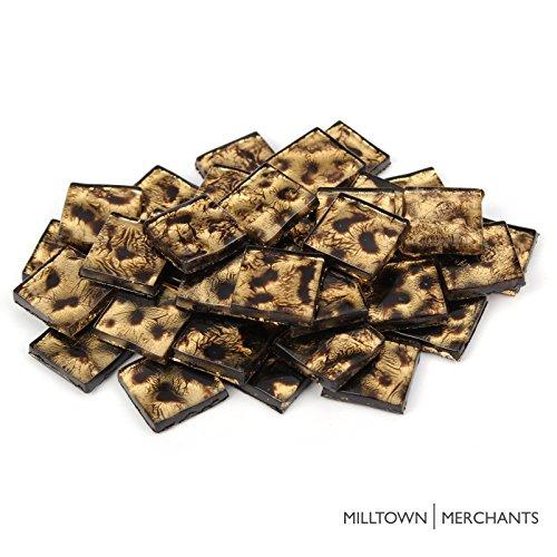 Milltown MerchantsTM 3/4 inch (20mm) Leopard Crystal Mosaic Tile - Bulk Patterned Glass Mosaic Tiles - 1 Pound (16 oz) Bronze Tile Assortment for Backsplash, Murals, Stepping Stones, and Mosaics
