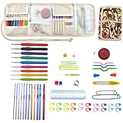 Katech Crochet Hook Set with Storage Bag - 64 Pieces of Knitting Accessories for Beginners and Crochet Lovers, Ergonomic Crochet Hooks DIY Hand Knitting Art Tools Crochet Needles Weave Craft Yarn Kits