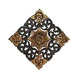 AeraVida Thai Lotus Flower 2 Tone Hand Carved Relief Panel Teak Wood Wall Art