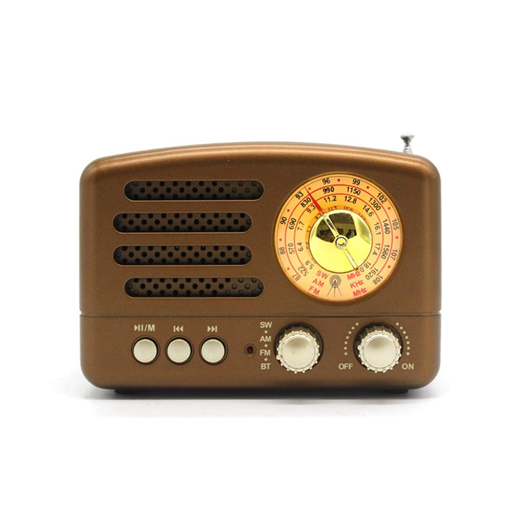 ZWS Radio Portable Retro Radio Handheld Receiver AM FM SW+Bluetooth Speaker AUX USB TF MP3 Phone Music Player Rechargeable Current Affairs Information (Color : Brown) by ZWS
