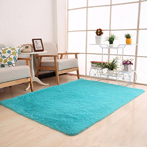 Dreamyth Fluffy Rugs Anti-Skid Shaggy Area Rug Dining Room Home Bedroom Carpet Floor Mat (Sky Blue) Bright Mat