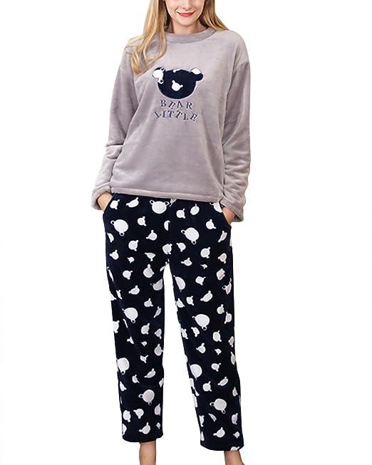 Set de 2 Piezas Pijamas para Mujer Ropa de Dormir Pajama Manga Larga Azul Gris XL