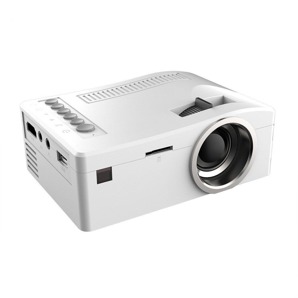 Fosa UC18 Mini Portable video Projector, Full HD 1080P LCD LED Home Theater Cinema Mini Portable Projector Support USB TV VGA SD AV Multi language, Great for Movie Nights and Video Games (White)