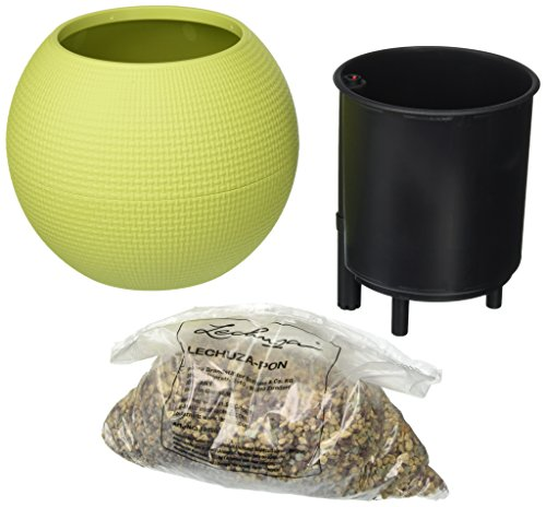Lechuza Puro 20 All-in-One Texture Self-Watering Garden Planter for Indoor Use, Lime Green
