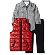 Calvin Klein Baby Boys' 3 Pc Vest Set, Red/Black, 24M