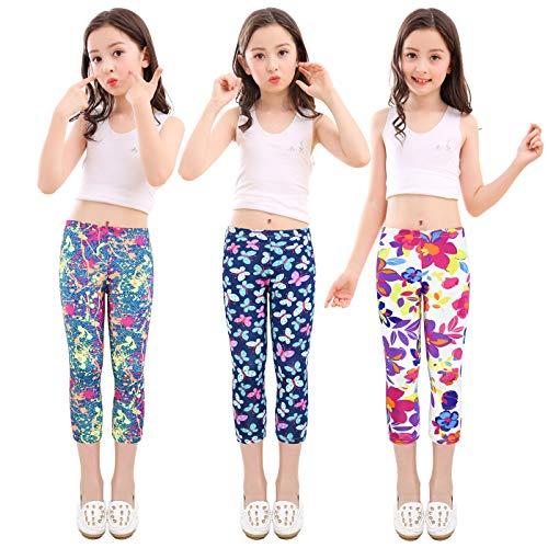 slaixiu 3-Pack Printing Flower Girl Leggings Kids Classic Pants 4-13Y(No.70_SADF_#140)