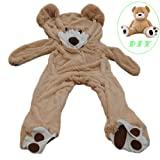 jumbo stuffed teddy bear - Life Size Huge Plush Teddy Bear Unstuffed Soft Giant Animal Toy (63 inch/ 5.2 feet), DIY Brown Bear for Children/ Girls Wishes, Only Cover, Sealing with the Zipper at Shell's Back