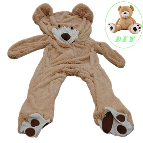 Life Size Huge Plush Teddy Bear Unstuffed Soft Giant Animal Toy (63 inch/ 5.2 feet), DIY Brown Bear for Children/ Girls Wishes, Only Cover, Sealing with the Zipper at Shell's Back]()